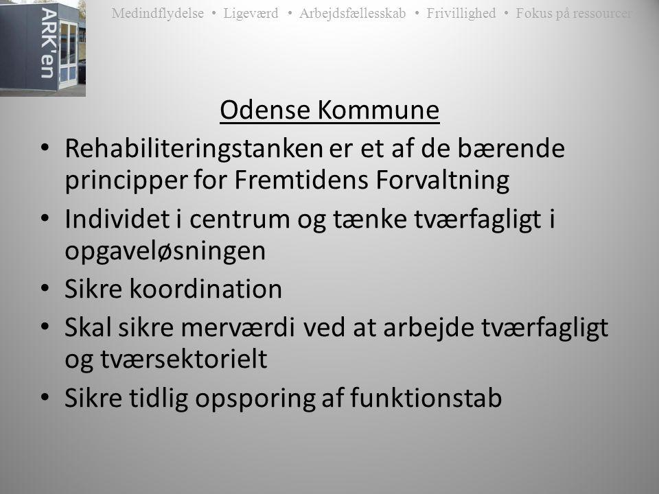 Medindflydelse • Ligeværd • Arbejdsfællesskab • Frivillighed • Fokus på ressourcer Odense Kommune • Rehabiliteringstanken er et af de bærende principper for Fremtidens Forvaltning • Individet i centrum og tænke tværfagligt i opgaveløsningen • Sikre koordination • Skal sikre merværdi ved at arbejde tværfagligt og tværsektorielt • Sikre tidlig opsporing af funktionstab