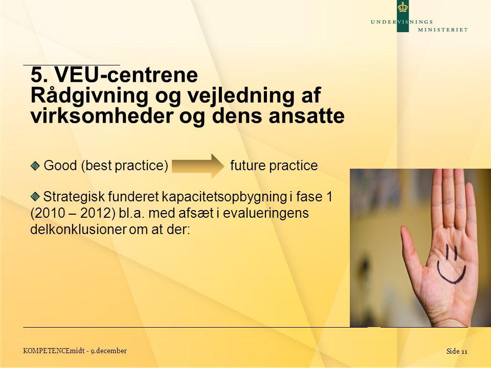 KOMPETENCEmidt - 9.december Side 11 Good (best practice) future practice Strategisk funderet kapacitetsopbygning i fase 1 (2010 – 2012) bl.a.