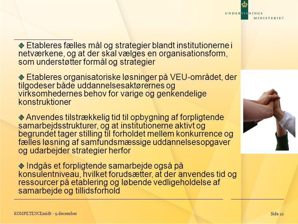 KOMPETENCEmidt - 9.december Side 12 Etableres fælles mål og strategier blandt institutionerne i netværkene, og at der skal vælges en organisationsform, som understøtter formål og strategier Etableres organisatoriske løsninger på VEU-området, der tilgodeser både uddannelsesaktørernes og virksomhedernes behov for varige og genkendelige konstruktioner Anvendes tilstrækkelig tid til opbygning af forpligtende samarbejdsstrukturer, og at institutionerne aktivt og begrundet tager stilling til forholdet mellem konkurrence og fælles løsning af samfundsmæssige uddannelsesopgaver og udarbejder strategier herfor Indgås et forpligtende samarbejde også på konsulentniveau, hvilket forudsætter, at der anvendes tid og ressourcer på etablering og løbende vedligeholdelse af samarbejde og tillidsforhold
