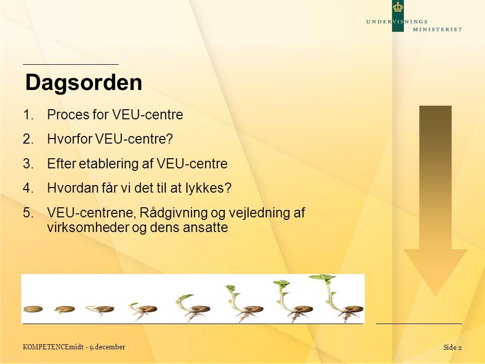 KOMPETENCEmidt - 9.december Side 2 Dagsorden 1.Proces for VEU-centre 2.Hvorfor VEU-centre.