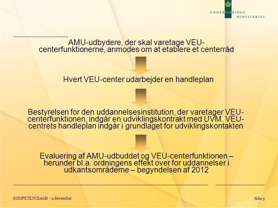 KOMPETENCEmidt - 9.december Side 5 Evaluering af AMU-udbuddet og VEU-centerfunktionen – herunder bl.a.