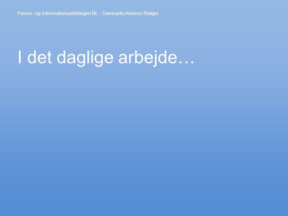 I det daglige arbejde… Presse- og informationsafdelingen BL – Danmarks Almene Boliger