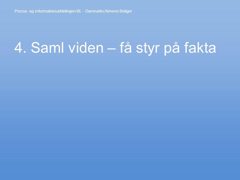 4. Saml viden – få styr på fakta Presse- og informationsafdelingen BL – Danmarks Almene Boliger