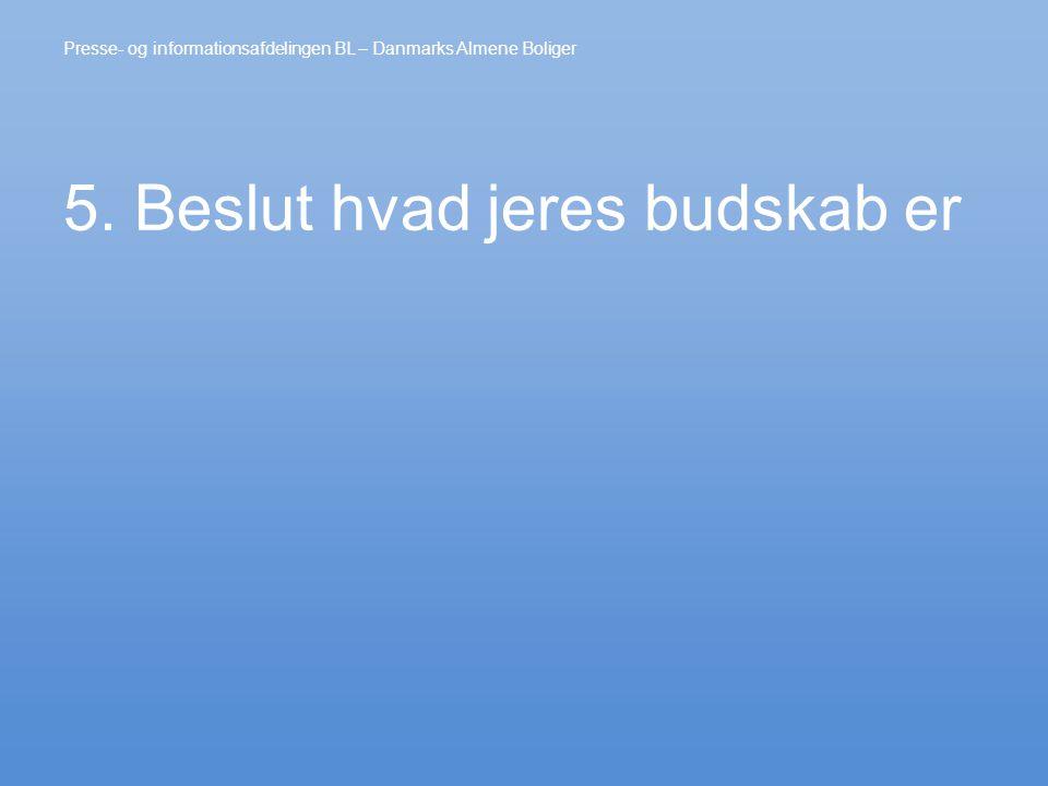 5. Beslut hvad jeres budskab er Presse- og informationsafdelingen BL – Danmarks Almene Boliger
