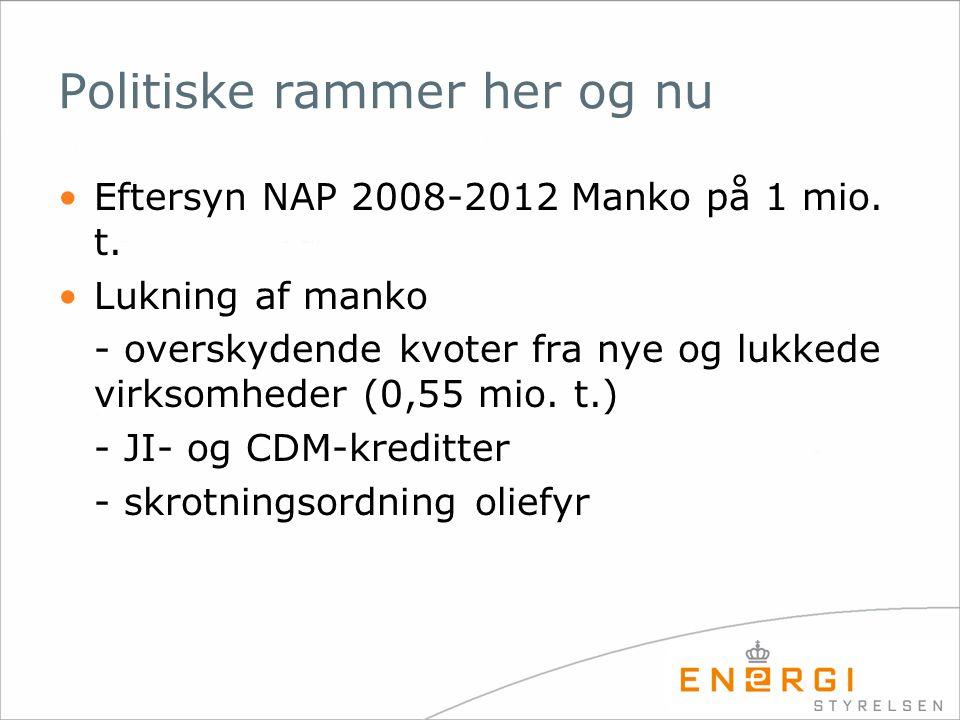 Politiske rammer her og nu •Eftersyn NAP 2008-2012 Manko på 1 mio.