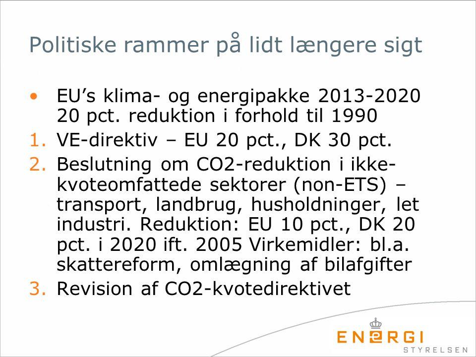 Politiske rammer på lidt længere sigt •EU's klima- og energipakke 2013-2020 20 pct.