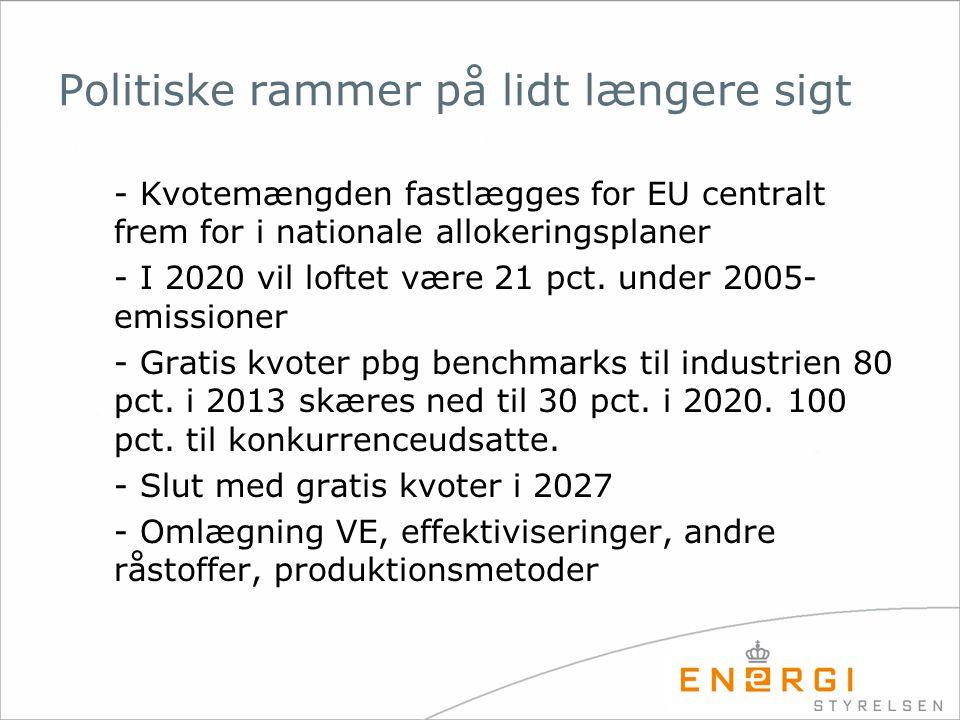 Politiske rammer på lidt længere sigt - Kvotemængden fastlægges for EU centralt frem for i nationale allokeringsplaner - I 2020 vil loftet være 21 pct.