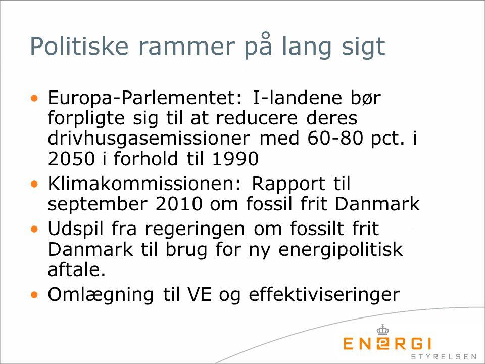 Politiske rammer på lang sigt •Europa-Parlementet: I-landene bør forpligte sig til at reducere deres drivhusgasemissioner med 60-80 pct.