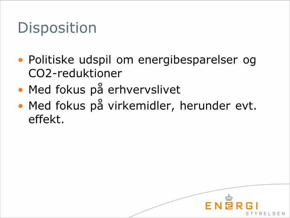 Disposition •Politiske udspil om energibesparelser og CO2-reduktioner •Med fokus på erhvervslivet •Med fokus på virkemidler, herunder evt.