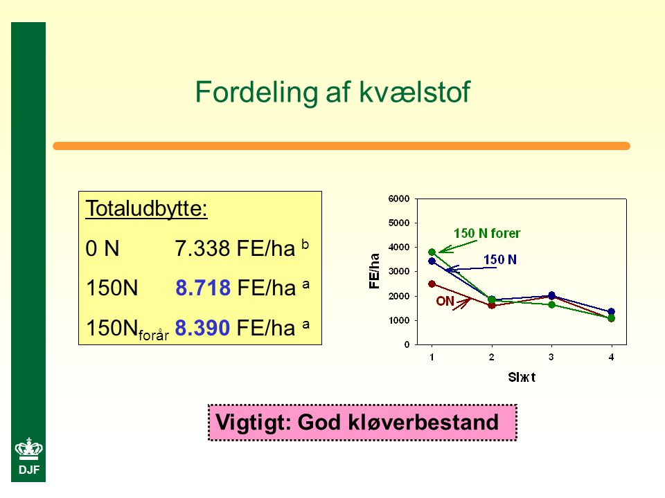 DJF Fordeling af kvælstof Totaludbytte: 0 N 7.338 FE/ha b 150N 8.718 FE/ha a 150N forår 8.390 FE/ha a Vigtigt: God kløverbestand