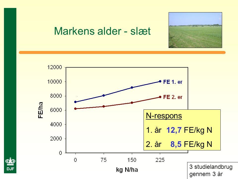 DJF Markens alder - slæt N-respons 1. år 12,7 FE/kg N 2.