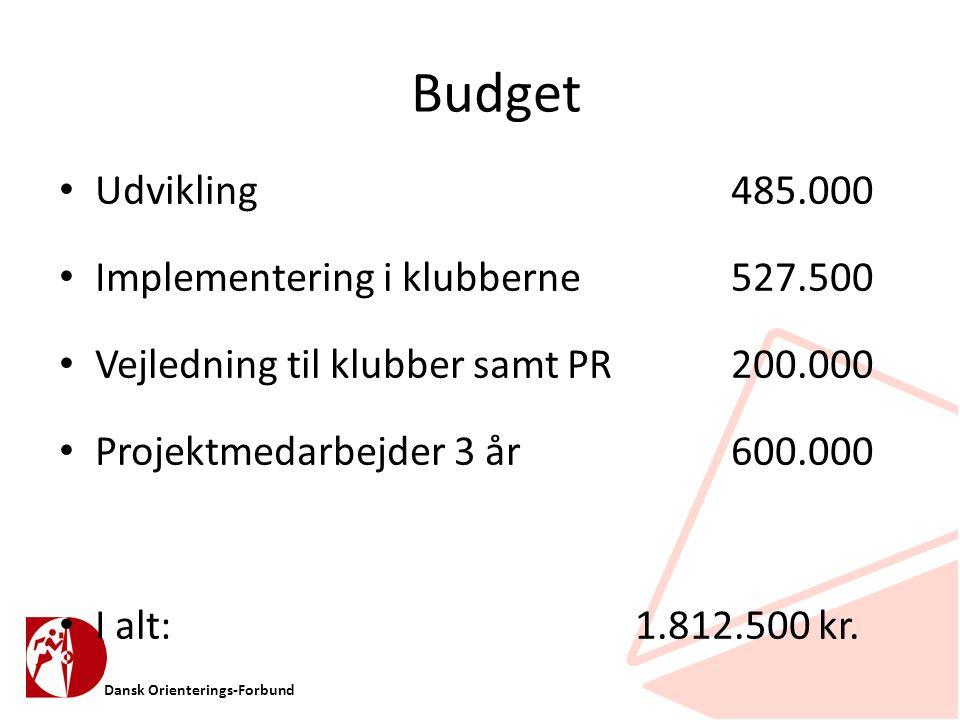 Dansk Orienterings-Forbund Budget • Udvikling 485.000 • Implementering i klubberne527.500 • Vejledning til klubber samt PR200.000 • Projektmedarbejder 3 år600.000 • I alt:1.812.500 kr.
