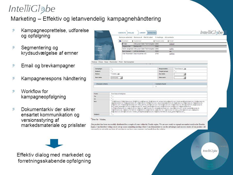 Salg Marketing Kunde Service Marketing – Effektiv og letanvendelig kampagnehåndtering Kampagneoprettelse, udførelse og opfølgning Segmentering og krydsudvælgelse af emner Email og brevkampagner Kampagnerespons håndtering Workflow for kampagneopfølgning Dokumentarkiv der sikrer ensartet kommunikation og versionsstyring af markedsmateriale og prislister Effektiv dialog med markedet og forretningsskabende opfølgning