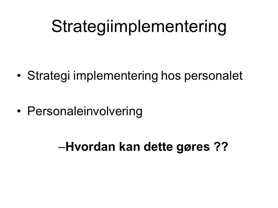 Strategiimplementering •Strategi implementering hos personalet •Personaleinvolvering –Hvordan kan dette gøres