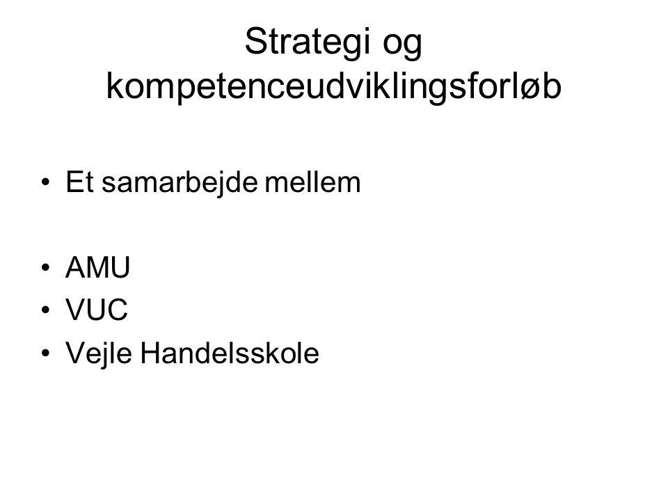 Strategi og kompetenceudviklingsforløb •Et samarbejde mellem •AMU •VUC •Vejle Handelsskole