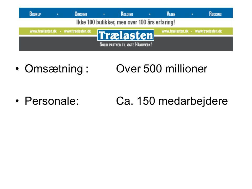 •Omsætning :Over 500 millioner •Personale:Ca. 150 medarbejdere