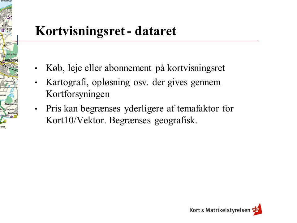 Kortforsyningen/Kortvisning - distributionsret • kundens intranet, alle de KMS produkter m.