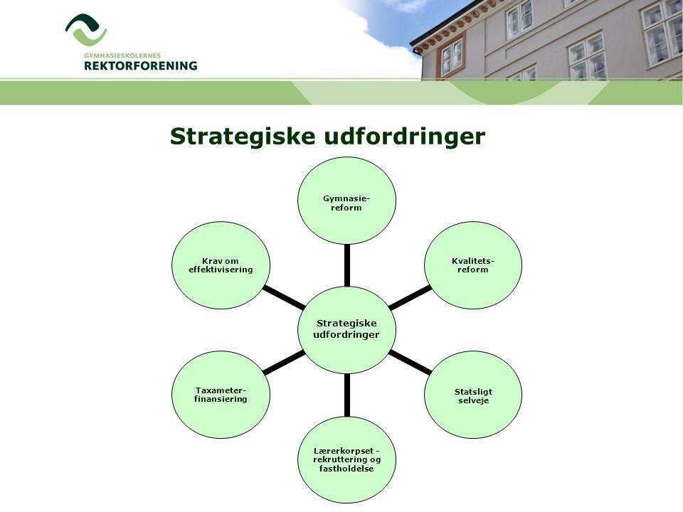 Strategiske udfordringer Gymnasie- reform Kvalitets- reformStatsligt selveje Lærerkorpset - rekruttering og fastholdelse Taxameter- finansiering Krav om effektivisering