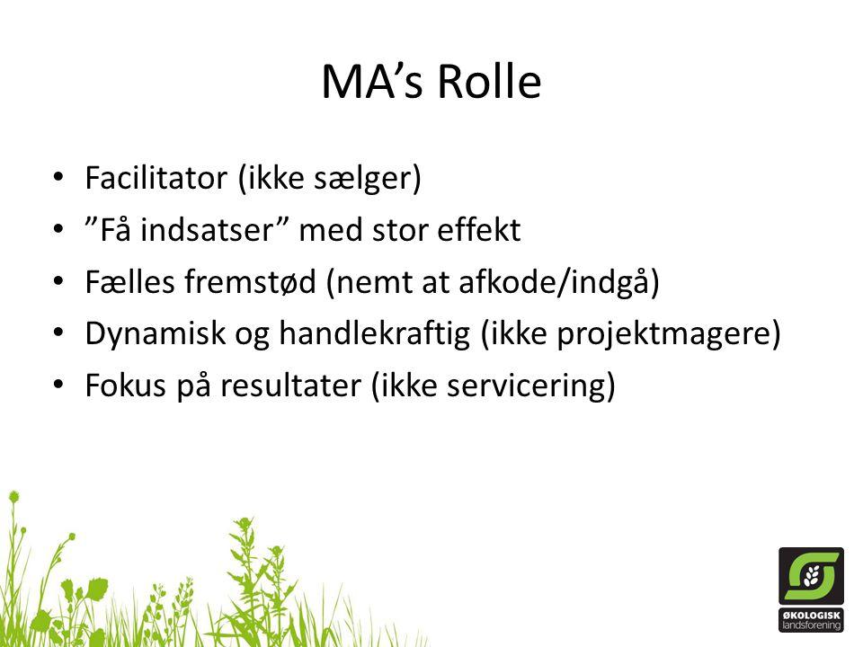 MA's Rolle • Facilitator (ikke sælger) • Få indsatser med stor effekt • Fælles fremstød (nemt at afkode/indgå) • Dynamisk og handlekraftig (ikke projektmagere) • Fokus på resultater (ikke servicering)
