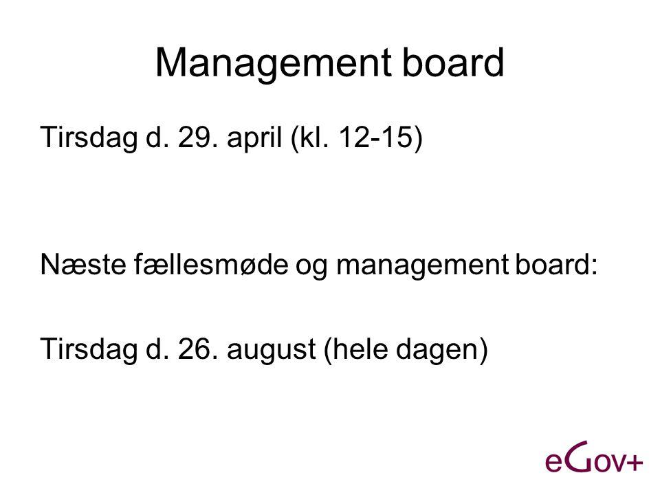 Management board Tirsdag d. 29. april (kl.