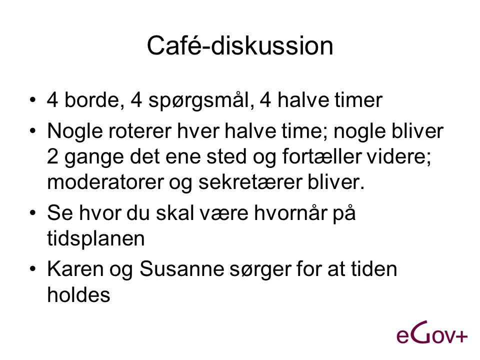 Café-diskussion •4 borde, 4 spørgsmål, 4 halve timer •Nogle roterer hver halve time; nogle bliver 2 gange det ene sted og fortæller videre; moderatorer og sekretærer bliver.
