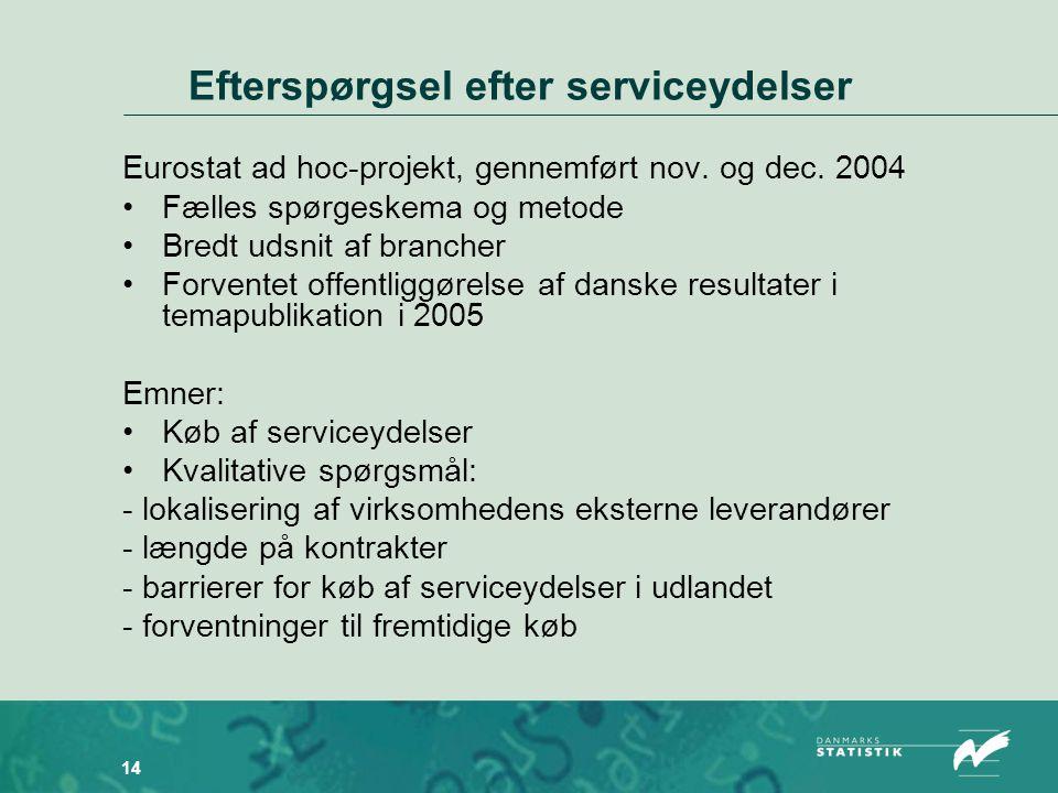 14 Efterspørgsel efter serviceydelser Eurostat ad hoc-projekt, gennemført nov.