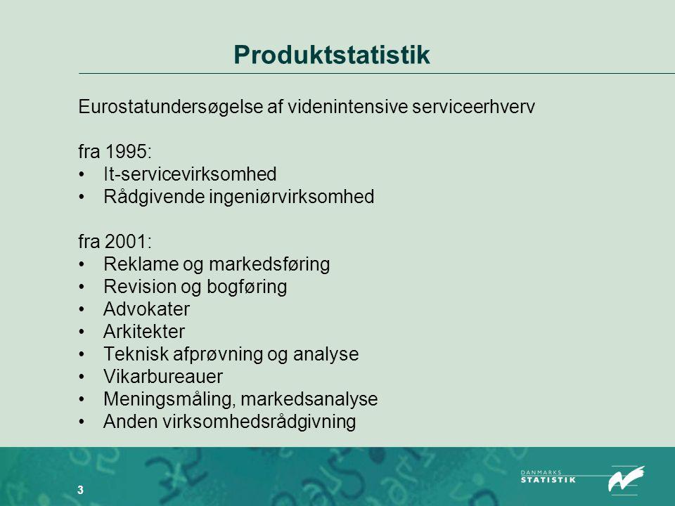 3 Produktstatistik Eurostatundersøgelse af videnintensive serviceerhverv fra 1995: •It-servicevirksomhed •Rådgivende ingeniørvirksomhed fra 2001: •Reklame og markedsføring •Revision og bogføring •Advokater •Arkitekter •Teknisk afprøvning og analyse •Vikarbureauer •Meningsmåling, markedsanalyse •Anden virksomhedsrådgivning