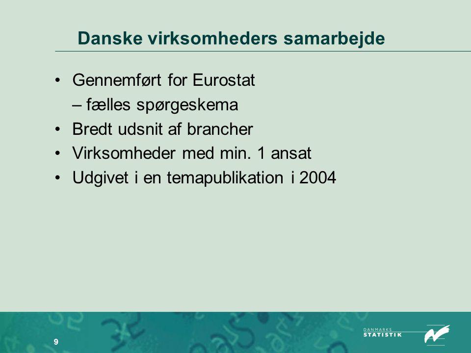 9 Danske virksomheders samarbejde •Gennemført for Eurostat – fælles spørgeskema •Bredt udsnit af brancher •Virksomheder med min.