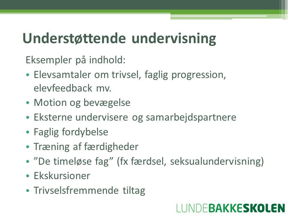 Eksempler på indhold: • Elevsamtaler om trivsel, faglig progression, elevfeedback mv.
