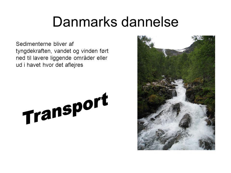 Danmarks dannelse Sedimenterne bliver af tyngdekraften, vandet og vinden ført ned til lavere liggende områder eller ud i havet hvor det aflejres