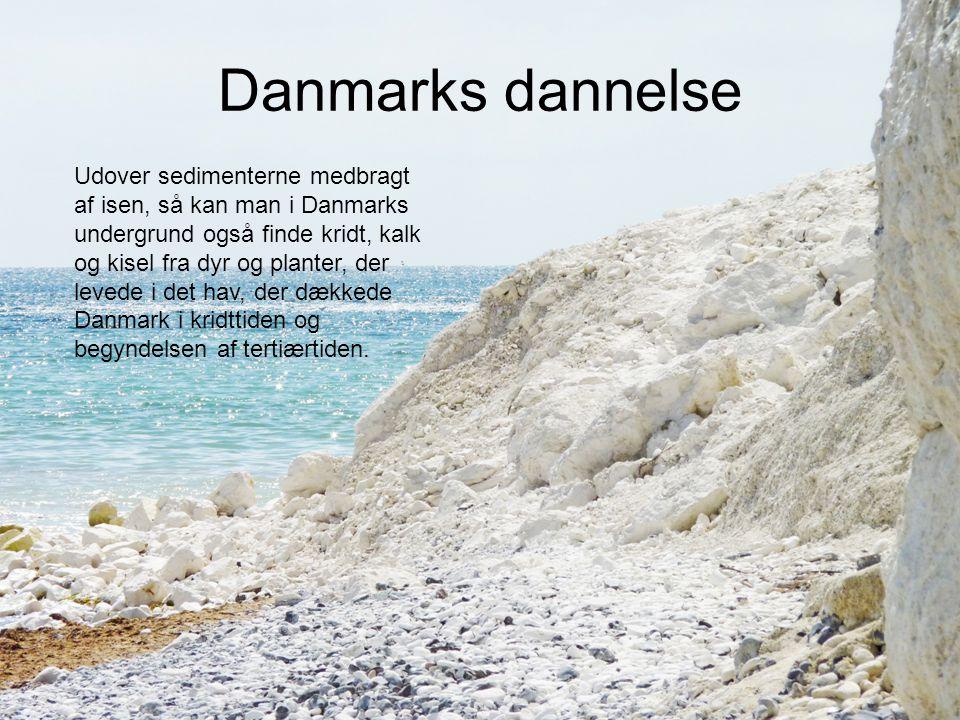 Danmarks dannelse Udover sedimenterne medbragt af isen, så kan man i Danmarks undergrund også finde kridt, kalk og kisel fra dyr og planter, der leved
