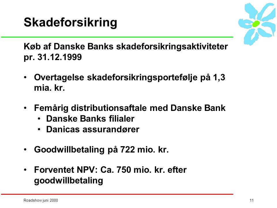 Roadshow juni 200011 Skadeforsikring Køb af Danske Banks skadeforsikringsaktiviteter pr.