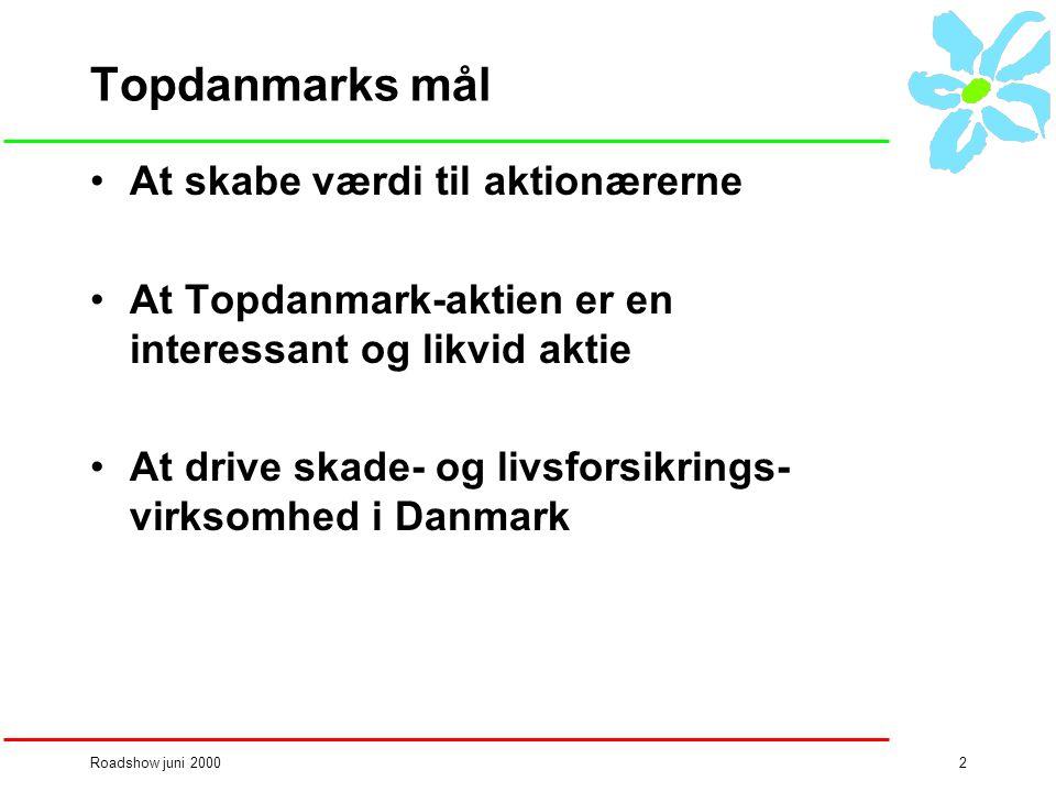 Roadshow juni 20002 Topdanmarks mål •At skabe værdi til aktionærerne •At Topdanmark-aktien er en interessant og likvid aktie •At drive skade- og livsforsikrings- virksomhed i Danmark