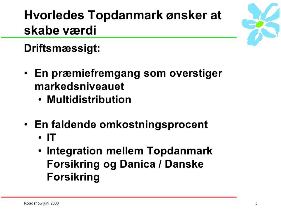 Roadshow juni 20003 Hvorledes Topdanmark ønsker at skabe værdi Driftsmæssigt: •En præmiefremgang som overstiger markedsniveauet •Multidistribution •En faldende omkostningsprocent •IT •Integration mellem Topdanmark Forsikring og Danica / Danske Forsikring