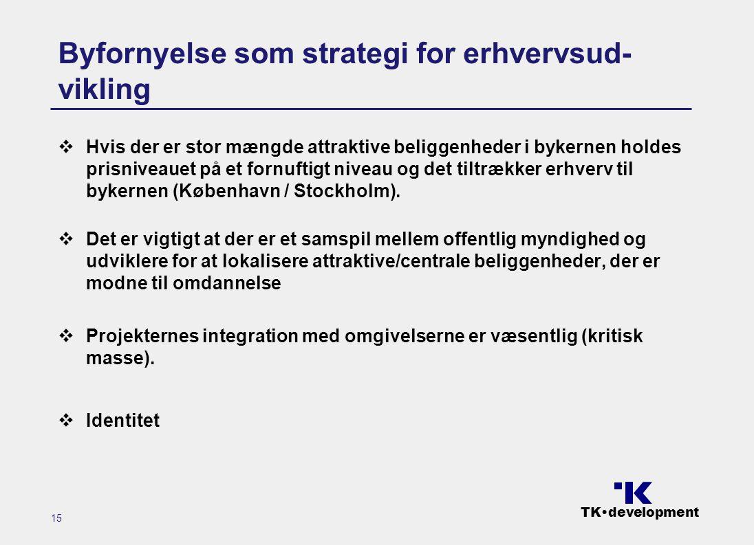 TK•development 15 Byfornyelse som strategi for erhvervsud- vikling  Hvis der er stor mængde attraktive beliggenheder i bykernen holdes prisniveauet på et fornuftigt niveau og det tiltrækker erhverv til bykernen (København / Stockholm).