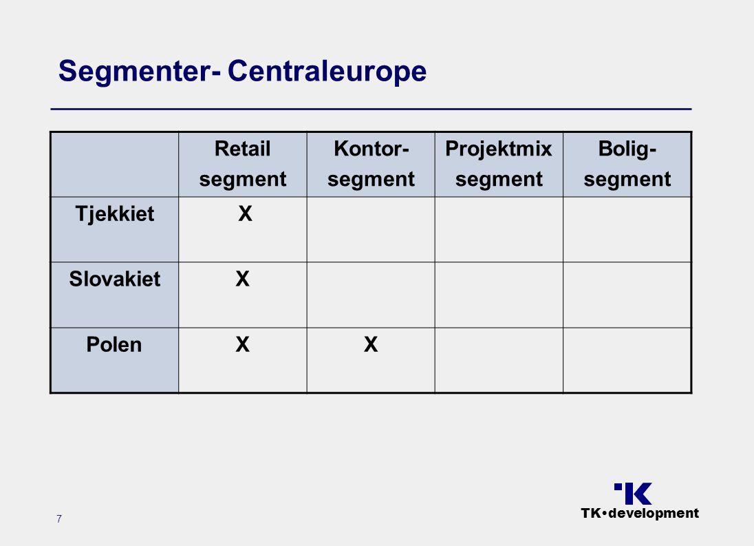 TK•development 7 Segmenter- Centraleurope Retail segment Kontor- segment Projektmix segment Bolig- segment Tjekkiet X SlovakietX PolenXX