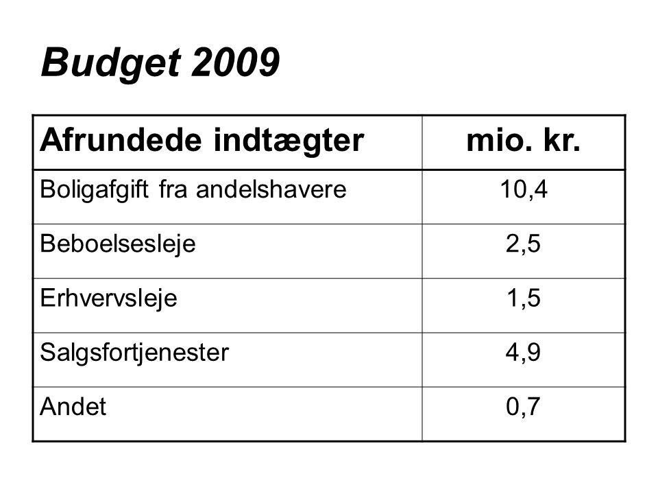 Budget 2009 Afrundede indtægtermio. kr.