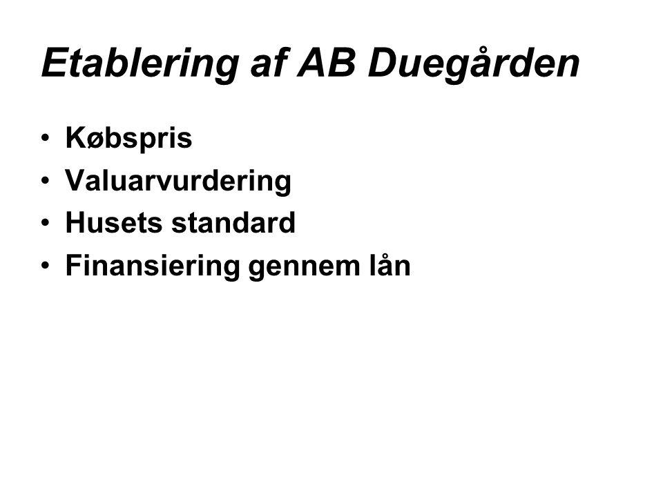 Etablering af AB Duegården •Købspris •Valuarvurdering •Husets standard •Finansiering gennem lån