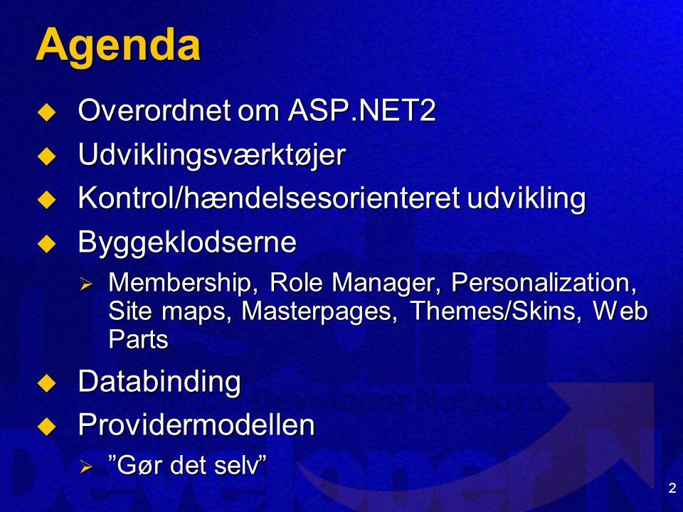 2 Agenda  Overordnet om ASP.NET2  Udviklingsværktøjer  Kontrol/hændelsesorienteret udvikling  Byggeklodserne  Membership, Role Manager, Personalization, Site maps, Masterpages, Themes/Skins, Web Parts  Databinding  Providermodellen  Gør det selv