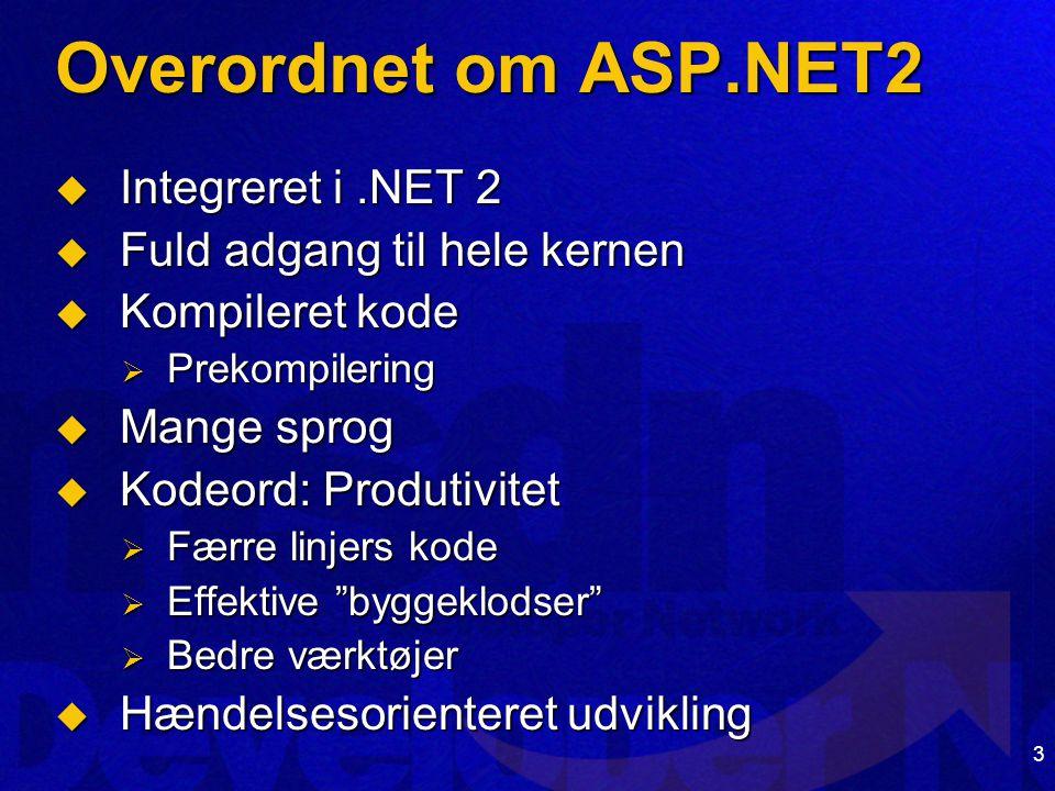 3 Overordnet om ASP.NET2  Integreret i.NET 2  Fuld adgang til hele kernen  Kompileret kode  Prekompilering  Mange sprog  Kodeord: Produtivitet  Færre linjers kode  Effektive byggeklodser  Bedre værktøjer  Hændelsesorienteret udvikling