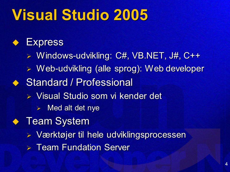 4 Visual Studio 2005  Express  Windows-udvikling: C#, VB.NET, J#, C++  Web-udvikling (alle sprog): Web developer  Standard / Professional  Visual Studio som vi kender det  Med alt det nye  Team System  Værktøjer til hele udviklingsprocessen  Team Fundation Server