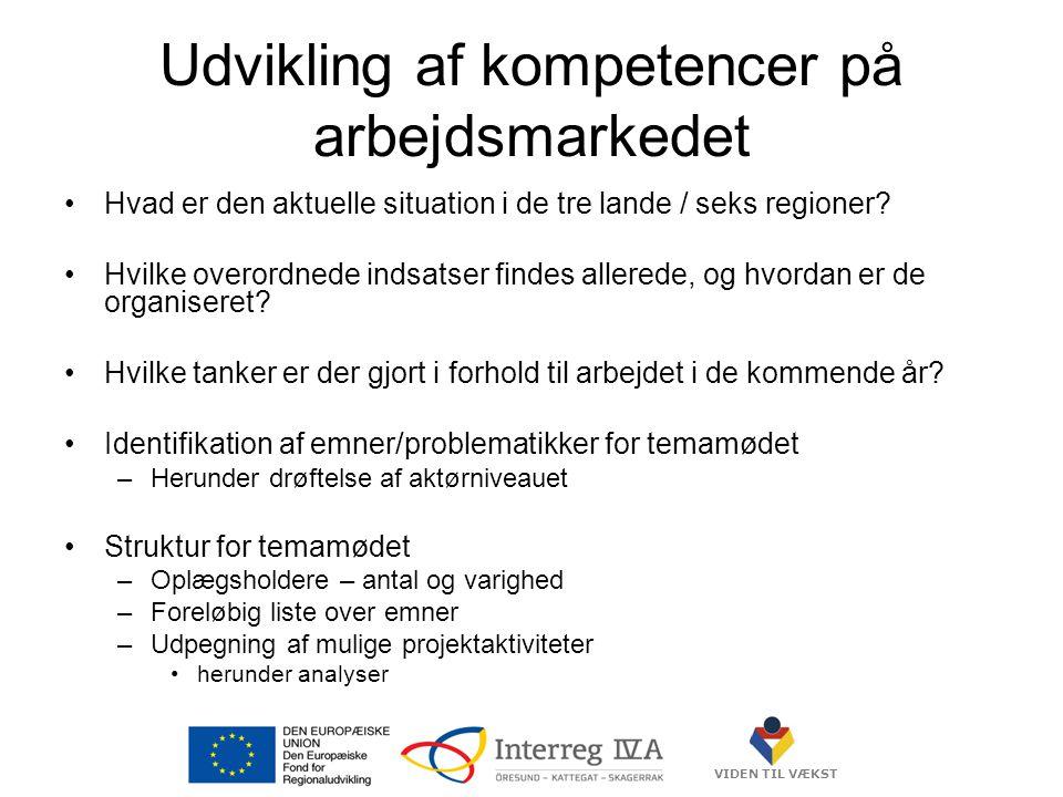 VIDEN TIL VÆKST Udvikling af kompetencer på arbejdsmarkedet •Hvad er den aktuelle situation i de tre lande / seks regioner.