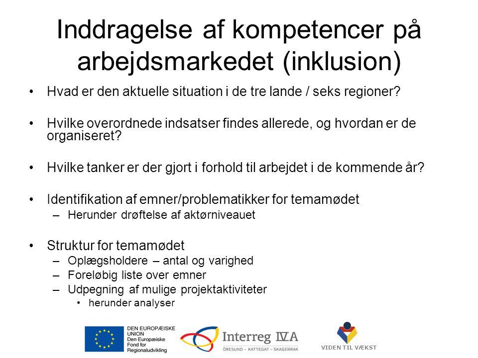 VIDEN TIL VÆKST Inddragelse af kompetencer på arbejdsmarkedet (inklusion) •Hvad er den aktuelle situation i de tre lande / seks regioner.