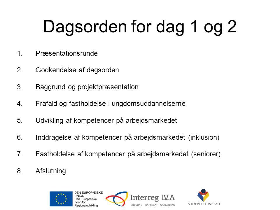 VIDEN TIL VÆKST Dagsorden for dag 1 og 2 1.Præsentationsrunde 2.Godkendelse af dagsorden 3.Baggrund og projektpræsentation 4.Frafald og fastholdelse i ungdomsuddannelserne 5.Udvikling af kompetencer på arbejdsmarkedet 6.Inddragelse af kompetencer på arbejdsmarkedet (inklusion) 7.Fastholdelse af kompetencer på arbejdsmarkedet (seniorer) 8.Afslutning