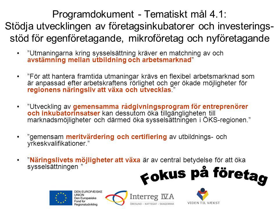 VIDEN TIL VÆKST Programdokument - Tematiskt mål 4.1: Stödja utvecklingen av företagsinkubatorer och investerings- stöd för egenföretagande, mikroföretag och nyföretagande • Utmaningarna kring sysselsättning kräver en matchning av och avstämning mellan utbildning och arbetsmarknad • För att hantera framtida utmaningar krävs en flexibel arbetsmarknad som är anpassad efter arbetskraftens rörlighet och ger ökade möjligheter för regionens näringsliv att växa och utvecklas. • Utveckling av gemensamma rådgivningsprogram för entreprenörer och inkubatorinsatser kan dessutom öka tillgängligheten till marknadsmöjligheter och därmed öka sysselsättningen i ÖKS-regionen. • gemensam meritvärdering och certifiering av utbildnings- och yrkeskvalifikationer. • Näringslivets möjligheter att växa är av central betydelse för att öka sysselsättningen