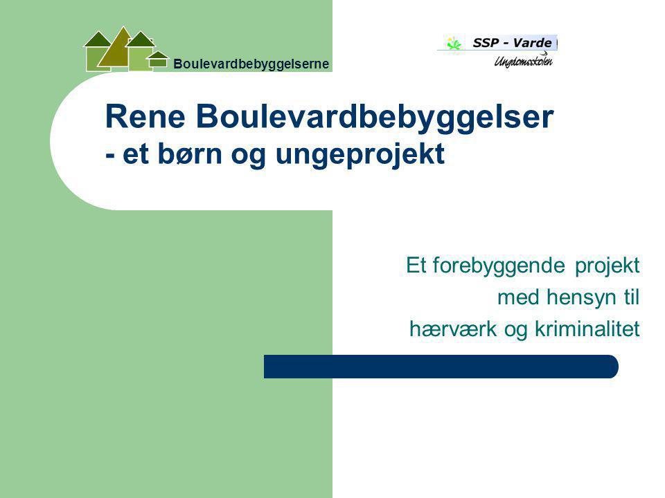 Rene Boulevardbebyggelser - et børn og ungeprojekt Et forebyggende projekt med hensyn til hærværk og kriminalitet Boulevardbebyggelserne