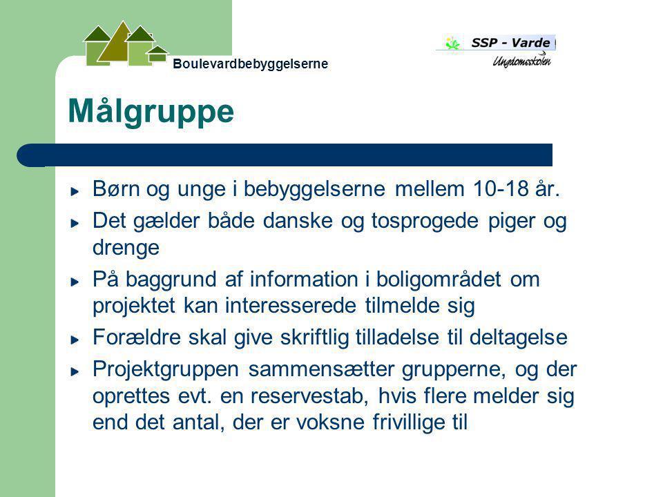 Målgruppe Børn og unge i bebyggelserne mellem 10-18 år.