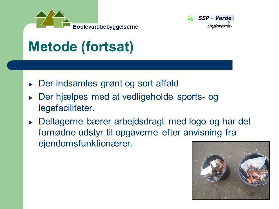 Metode (fortsat) Der indsamles grønt og sort affald Der hjælpes med at vedligeholde sports- og legefaciliteter.
