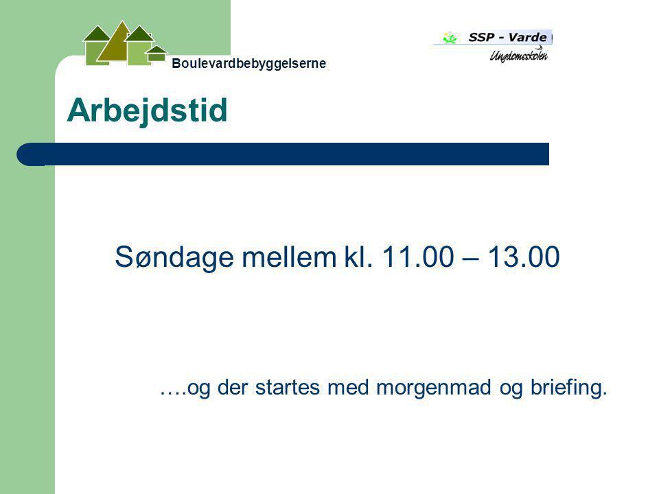 Arbejdstid Søndage mellem kl. 11.00 – 13.00 ….og der startes med morgenmad og briefing.