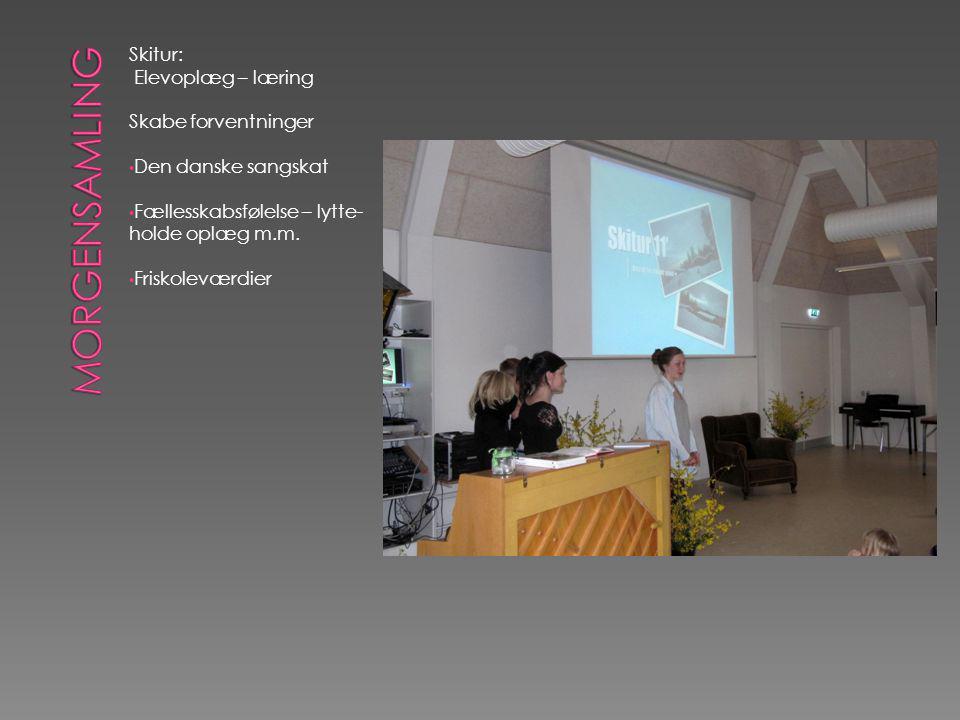 Skitur: Elevoplæg – læring Skabe forventninger • Den danske sangskat • Fællesskabsfølelse – lytte- holde oplæg m.m.